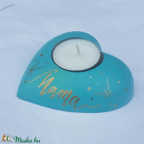 Szív alakú türkiz mécsestartó Mama felirattal - Meska.hu