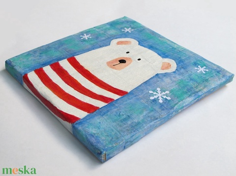 """Jegesmedve, maci, tengerész mackó bocs, kézzel festett fali kép baba fiú gyerekszoba dekoráció """"Nyári hűsölés"""