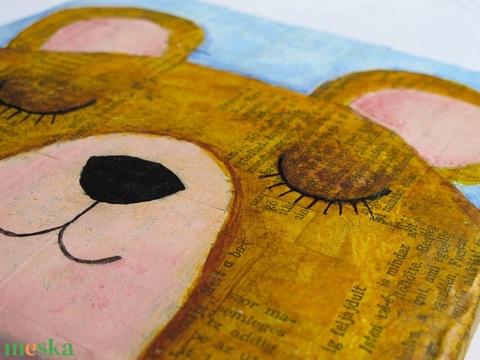 Mackó maci, alvó szundikáló medvebocs eredeti festmény textúrás fali kép babaszoba gyerek dekoráció, keretezni nem kell - Meska.hu