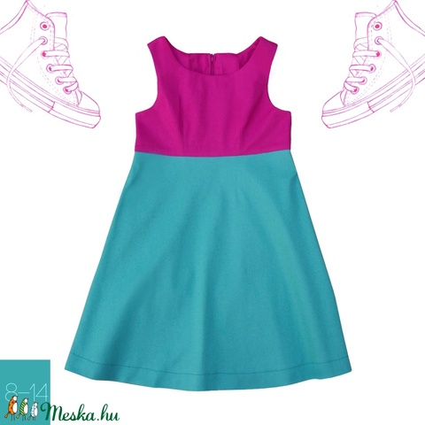 Fukszia_lány ruha 146-os (10-11 éves) (814GIRL) - Meska.hu