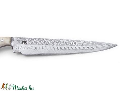 Agancsmarkolatos damaszkolt hosszú kosfejes kés, [Ka_04c] - Meska.hu