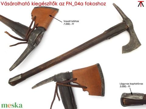 Nyelezett kovácsolt acél szakállas székely fokos, rövid, égetett és olajozott tölgyfa nyéllel , [FN_04a] - Meska.hu