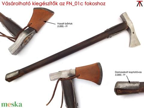 Nyelezett damaszkolt kun fokos, rövid, égetett és olajozott tölgyfa nyéllel, [FN_01c] - Meska.hu