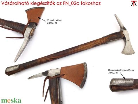 Nyelezett damaszkolt székely fokos, rövid, égetett és olajozott tölgyfa nyéllel, [FN_03c] - Meska.hu