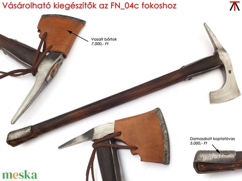 Nyelezett damaszkolt szakállas székely fokos, rövid, égetett és olajozott tölgyfa nyéllel, [FN_03c] - Meska.hu