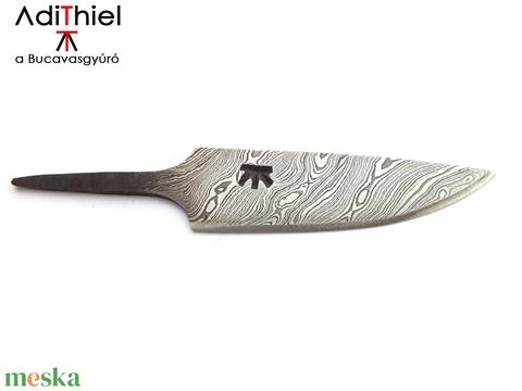 Damaszkolt markolattüskés kés csavart damaszk pengéve, [K_02a] - otthon & lakás - konyhafelszerelés - kés & késtartó - Meska.hu