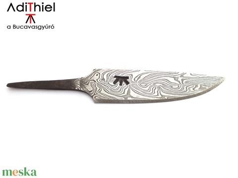 Damaszkolt markolattüskés kés duplacsavart damaszk pengével, [K_02b] (adithiel) - Meska.hu