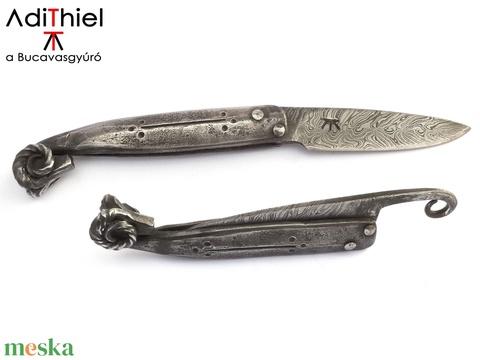 Kosfejes, súrlódás-záródásos, vasmarkolatos bicska duplacsavart damaszk pengével, [Kv_10b] - Meska.hu
