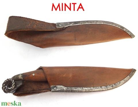 Damaszkolt markolatlapos kés rózsadamaszk pengével, [K_03d] - Meska.hu