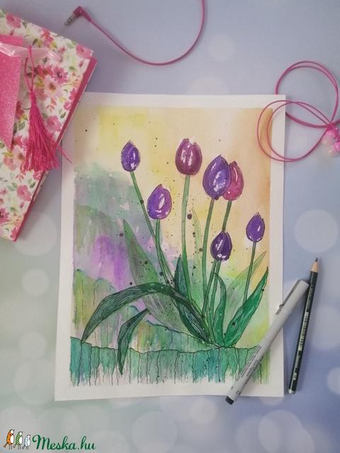 Lila tulipánok akvarell nyomat (adriennekoehazi) - Meska.hu