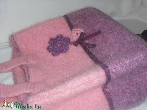 Rózsaszín álom-kötött,nemezelt táska - Meska.hu