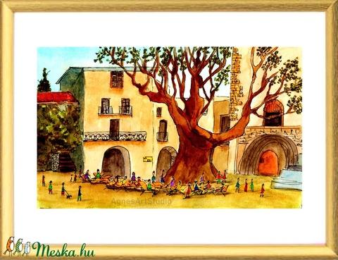 Saint-Guilhem-Le-Désert - aquarell festmény - nyomat (AgnesArtStudio) - Meska.hu