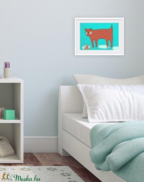 Gyerekszoba dekoráció, fali kép, piros macska esőben, kék háttéren A4 illusztráció -  - Meska.hu