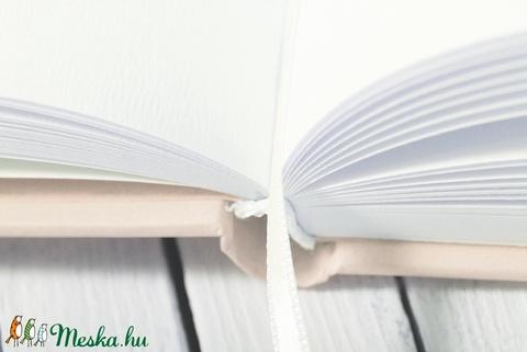 Elegáns, egyedi esküvői, eljegyzési emlékkönyv, vendégkönyv, napló halvány rózsaszín-okker színekben (agnescor) - Meska.hu
