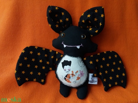 Halloween denevér textil figura - Meska.hu
