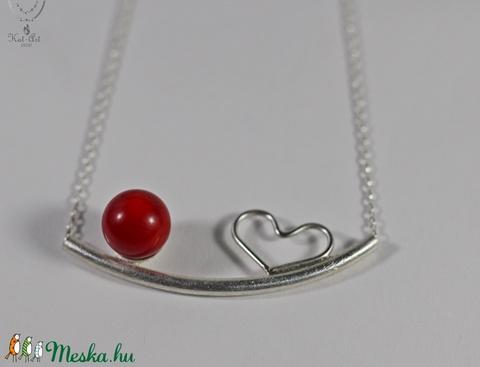 Happy Collection! Piros korall  és szív lánc és fülbevaló - Meska.hu