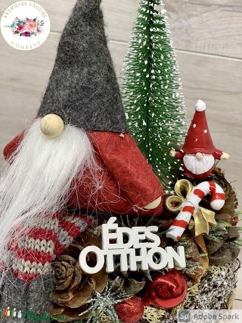 Karácsonyi manós asztaldísz - téli/karácsonyi dekoráció, asztaldísz (AKezmuvescsodak) - Meska.hu