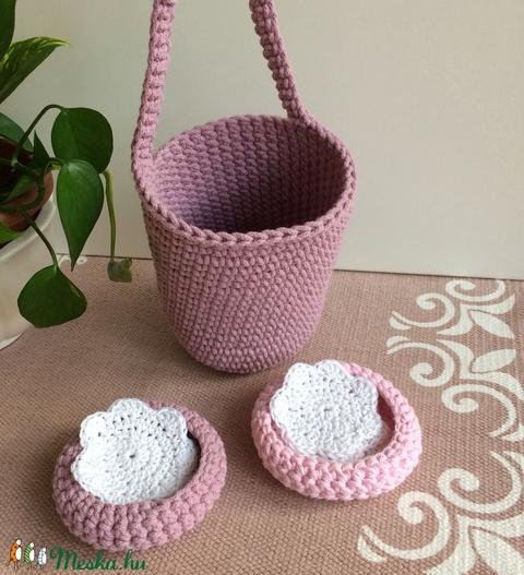 Nagyobb horgolt rózsaszínű füles kosár vastagabb merev fonalból, kisbabának vagy gyermeknek is - ÖKO, zéró hulladék - Meska.hu