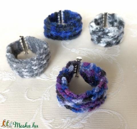Egyedi horgolt széles karkötő a természet színeiben, ezüst színű mágneses kapoccsal - unisex, hippi, retro. - Meska.hu