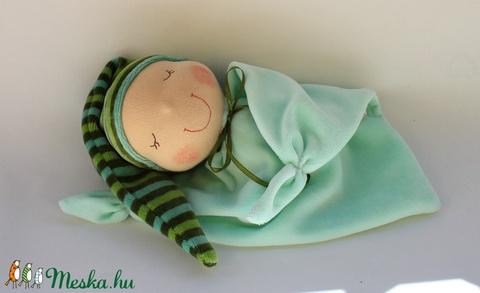 Rongyi Waldorf baba- zöld csíkos (Aledi) - Meska.hu