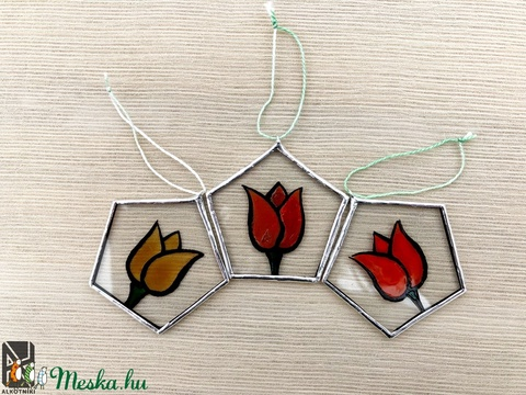 3 db Üveg dekoráció, tavaszi, tulipános - Meska.hu