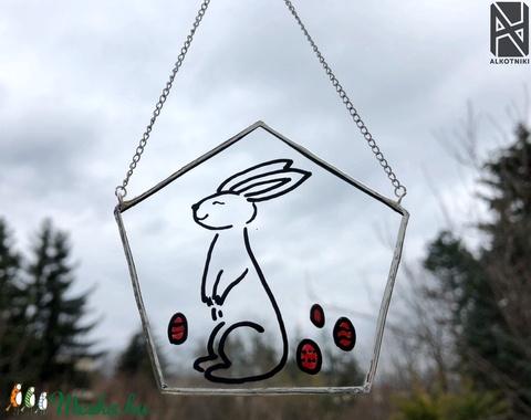 Üveg nyuszis tavaszi, húsvéti dekoráció - Meska.hu