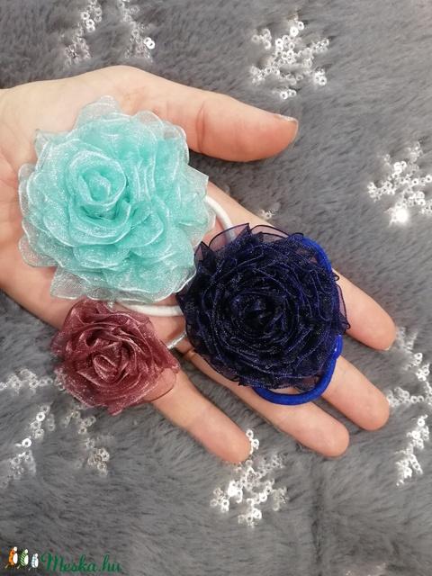 Organza rózsa hajgumi - Meska.hu