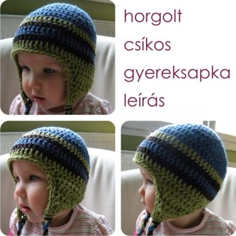 Csíkos, horgolt gyereksapka leírás - nimpacs megrendelésére (almodora) - Meska.hu