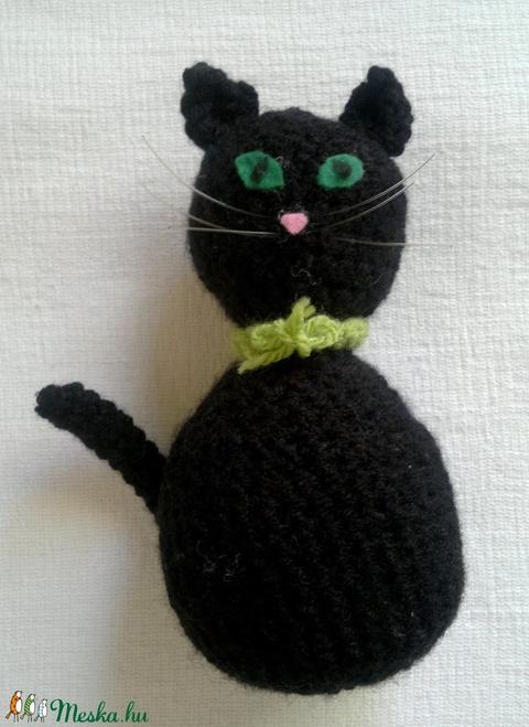horgolt fekete macska - játék & gyerek - plüssállat & játékfigura - cica - Meska.hu