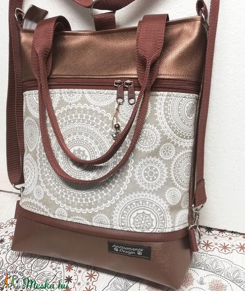 Fehér mandalák 4in1 hátizsák univerzális rohangálós táska bronz alapon  - Meska.hu