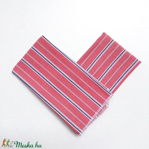 2 db puha csíkos zsebkendő, szalvéta újrahasznosított pamut textilből karácsonyra, hanukára, téli náthás szezonra (andindadesign) - Meska.hu