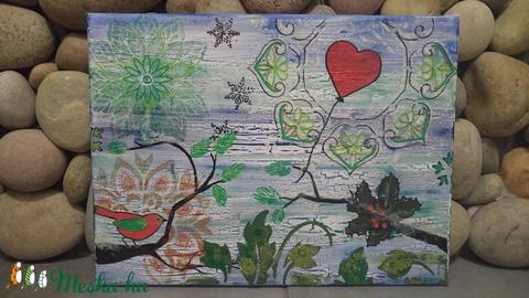 Hiányzol: ünnepi akril festmény madárkával - Meska.hu