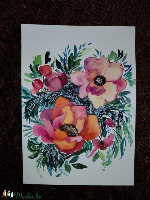 Pünkösdi rózsák csokorban: eredeti akvarell festmény  - Meska.hu