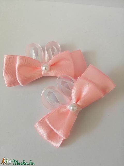 Rózsaszín masnis hajcsat. Kanzashi - Meska.hu