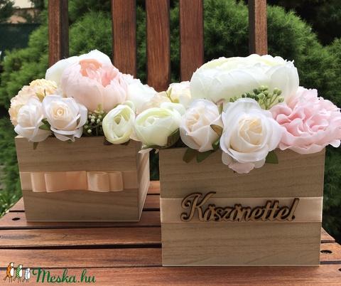 Virágdoboz élethű, prémium minőségű selyemvirágokból  (anitadekormuhelye) - Meska.hu