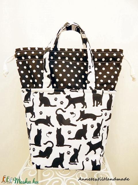 Kids bag - fekete macskák uzsonnás táska (annetextil) - Meska.hu