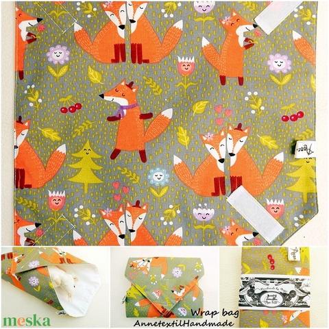 Szerelmes rókák szürke Kids bag set - uzsonnás táska szett (annetextil) - Meska.hu