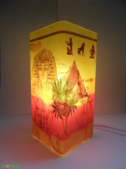 Asztali lámpa,éjjeli lámpa,hangulatlámpa egyiptomi mintával (Annikreativ) - Meska.hu