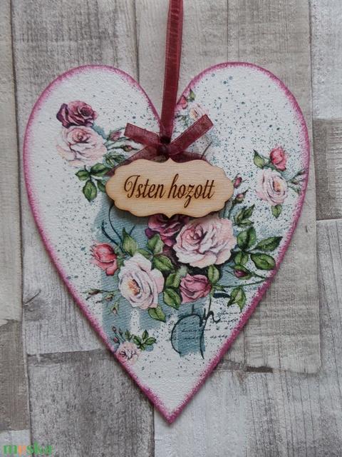 Szív  alakú ajtódísz,ablakdísz,függődísz  rózsa  mintával (Annikreativ) - Meska.hu
