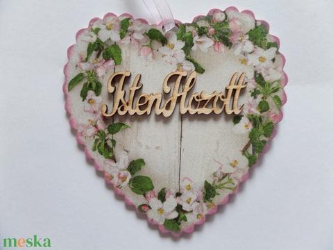 Rózsás,virágos ajtódísz,üdvözlőtábla,kopogtató szív alakú fodros szélű (Annikreativ) - Meska.hu