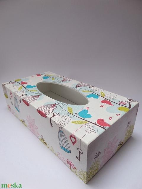 Fekvő papírzsebkendőtartó,kozmetikai kendő tartó vidám madárkás,kalitkás mintávalm - Meska.hu