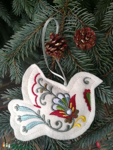 Karácsonyfadísz - Hímzett gyapjúfilc - galamb (AproAniko) - Meska.hu