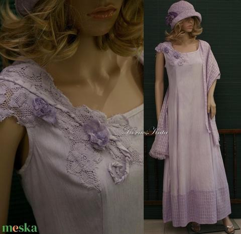 GILDA - artsy design hosszú-ruha, örömanya ruha, stólával L-XL - Meska.hu