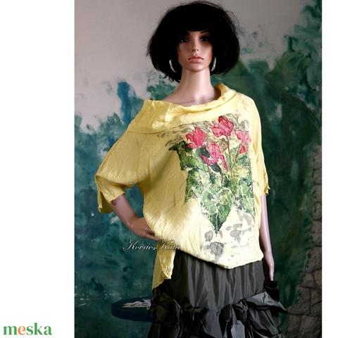 CIKLÁMEN -  exkluzív 100% hernyóselyem festményblúz - ruha & divat - női ruha - blúz - Meska.hu
