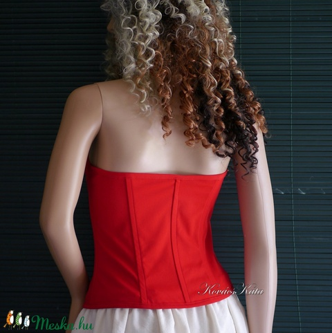 VEZÚV-míder / piros - design fűző - menyecske ruha (Aranybrokat) - Meska.hu