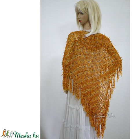FLAMINGÓ - exkluzív kézzel kötött selyem vállkendő / narancs (Aranybrokat) - Meska.hu