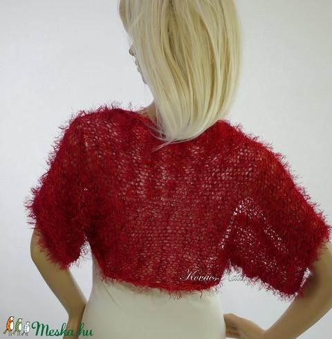 FLAMINGÓ - exkluzív kézzel kötött selyem-műszőrme boleró / vörös (Aranybrokat) - Meska.hu