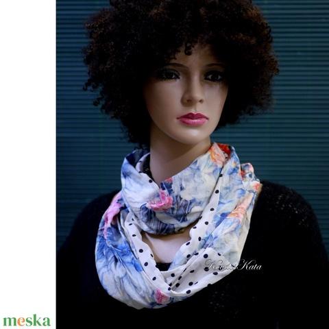 INFINITY - romantikus hernyóselyem körsál, csősál / pöttyös- virágos - ruha & divat - sál, sapka, kendő - sál - Meska.hu