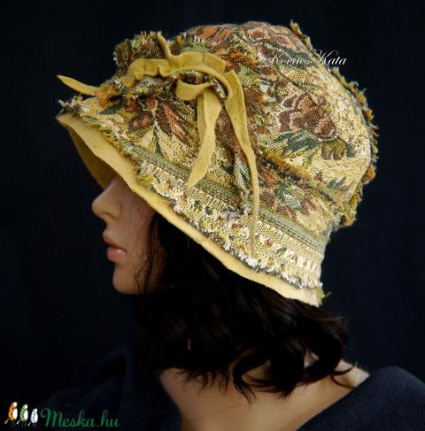 ANTIK-BROKÁTSELYEM cloche - bohém patchwork artsy flapper-kalap - Meska.hu