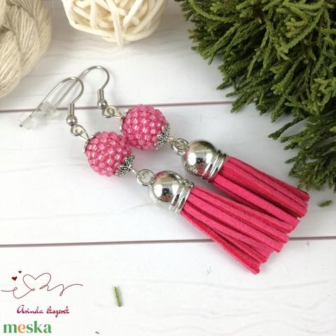 Bojtos fülbevaló antiallergén gyöngyös pink acél fülbevaló tavaszi nyári ajándék nőnek lánynak esküvőre hétköznapi - Meska.hu